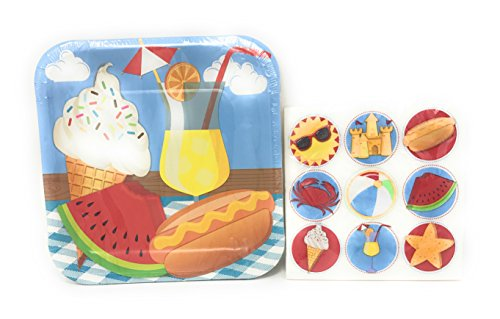 Summer Beach Themed Party Tableware ~ Plates and Napkin Set, Serves 14 (Picnic at the (Beach Themed Plates And Napkins)
