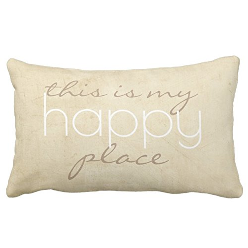 (UOOPOO Quote Pillow This Is My Happy Place Throw Pillow Case Square 12 x 16 Inches Soft Cotton Canvas Home Decorative Wedding Cushion Cover for Sofa and Bed One Side)