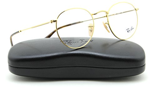Ray-Ban RX3447V Round Metal Unisex Eyeglasses Gold Frame 2500, - Clear Ray Glasses Ban Lense