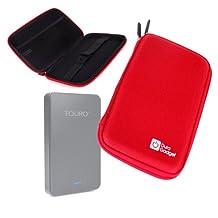 DURAGADGET Pink Shell Hard EVA Cover Case with Dual Zips for HGST Touro Desk Pro 4TB External Hard Drive / Netac SSD / LaCie Minimus USB 3.0 (3TB)
