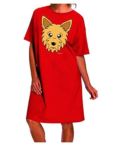 TooLoud Cute Yorkshire Terrier Yorkie Dog Dark Night Shirt Dress - Red - One ()