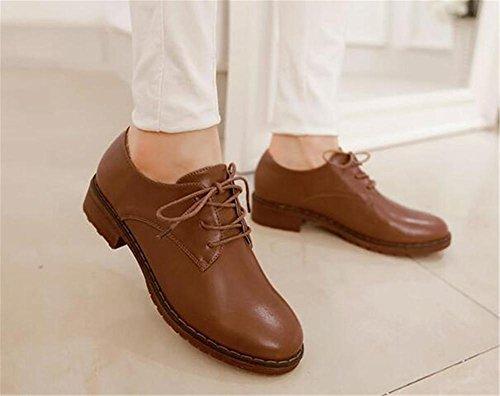 de otoño bombas Toe plataforma Patentes ronda hasta de sólido las zapatos PU cuero cerrado YEEY Brown Toe encaje Mujeres Z65wqB