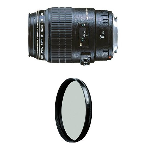 Canon EF 100mm f/2.8 Macro USM Fixed Lens for Canon SLR Cameras w/ B+W 58mm HTC Kaesemann Circular Polarizer