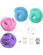 Fluffy Putty,TIME4DEALS 4-Pack Jumbo Floam Slime Kit for Kids Teenagers Adults for Stress Relief, Hand and Finger exercises (3pcs Squishies Slow Rising Toy included)
