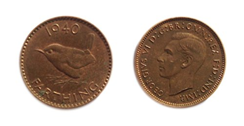 1940 GB George VI British farthing coin for collectors / Almost Uncirculated / AU