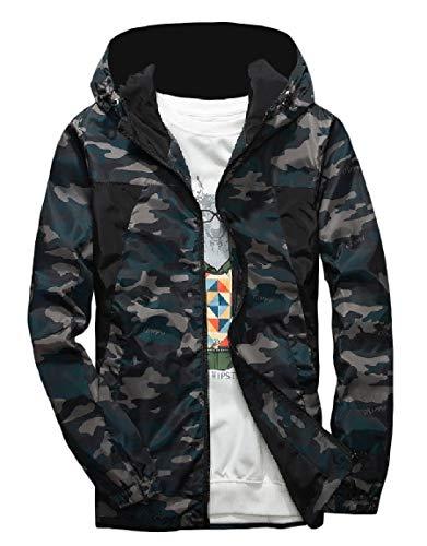 MogogoMen Hooded Plus Size Windbreaker Outwear Full-Zip Camo Jacket Green