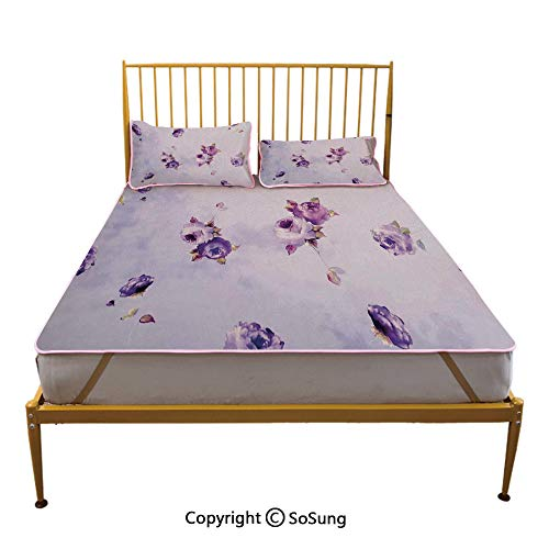 (Roses Decorations Creative Full Size Summer Cool Mat,Floral Pattern with Mauve Roses in Purple Color Dreamy Clouds Retro Soft Pale Art Sleeping & Play Cool Mat,Lilac Violet )