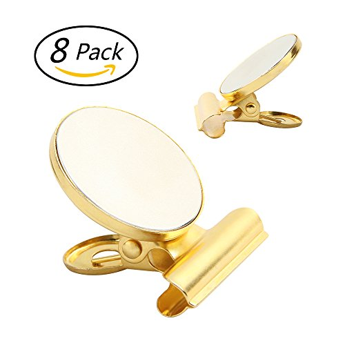 8 Strong Refrigerator Magnet Hook Clips with Neodymium Magnet, 30mm Wide, Golden (Gold Fridge compare prices)