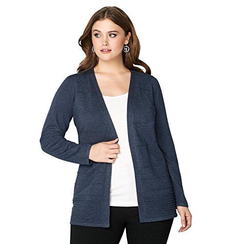 Avenue Women's Solid Ottoman Cardigan, 26/28 Blue