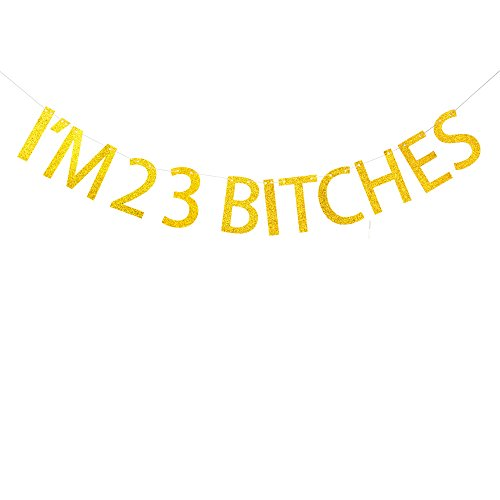 I'm 23 bitches banner for 23rd birthday party decorations,happy 23rd birthday funny banner Succris]()