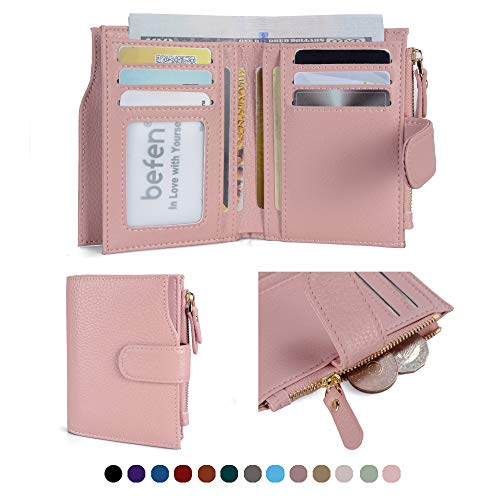 (Befen Women's RFID Blocking Luxury Full Grain Genuine Leather Bifold Trifold Wallet Multi Card Organizer Holders for Ladies (Blush Pink RFID Wallet)