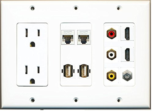 RiteAV 15 Amp Power Outlet 3 RCA Composite 2 HDMI 1 Coax 2 USB Cat5e Wall Plate