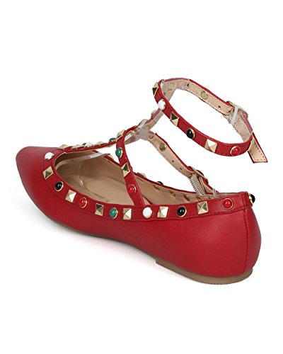 Beaded Women Trendy Studded Dressy Flat Alrisco Casual Strap Diva by Leatherette Flat and Red Collection Wild HD69 Ankle Caged Fashion Flat 70wddFSqW