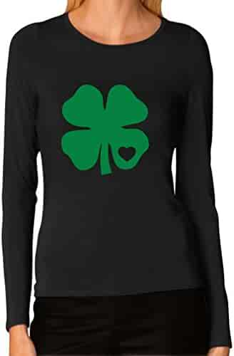 Tstars Irish Shamrock Green Clover Heart ST. Patrick's Day Women Long Sleeve T-Shirt