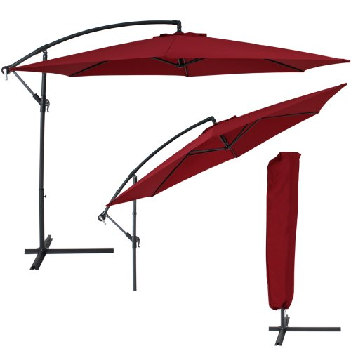 TecTake® Sonnenschirm Ampelschirm mit Aluminiumgestell + UV Schutz 350cm weinrot + Schutzhülle