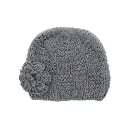 Milani Women's Warm Fashion Hand Knit Beanie Cap With Crochet Flower Design in (Hand Knit Beanie Hat)
