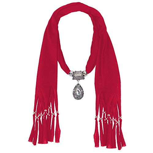LERDU Gift Idea Indian Teardrop Stone Pendant Red Scarf Necklace Soft Jersey Infinity Scarf Tassel Jewelry for Women