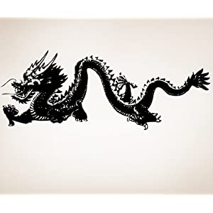 """Stickerbrand Asian Decor Vinyl Wall Art Chinese Dragon Wall Decal Sticker - Multiple Colors Available, 21"""" x 55"""". Easy to Apply & Removable."""