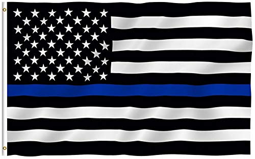 RainRoad 3x5 Foot Thin Blue Line USA Polyester Flag - Vivid Color and Printed Stars and Stripes. - Home Garden Flags with Brass Grommets