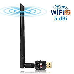 ANEWKODI AC600Mbps USB Wireless Adapter USB Wifi Adapter 5dBi Dual Band (5.8G/433Mbps+2.4G/150Mbps) 802.11 ac/a/b/g/n Wifi Adapter for Desktop/Laptop/PC, Support Windows 10/8/7/Vista/XP/2000/Mac Os