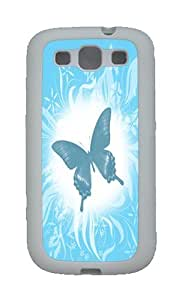 Blue Butterfly Custom TPU Rubber Soft Case and Cover for Samsung Galaxy S3 /S III White