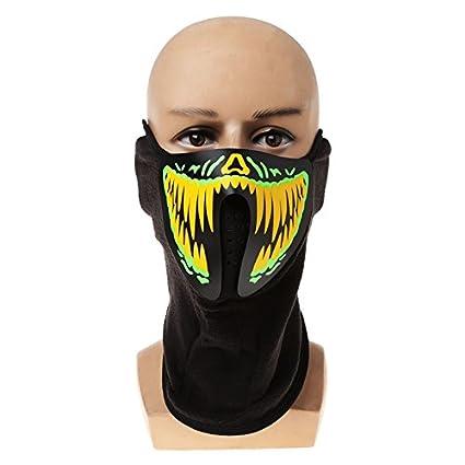 Kofun Máscara LED luminosa, diseño de calavera, ideal para disfraz de Halloween, poliéster