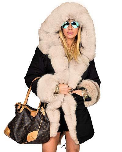Aofur Womens Hooded Faux Fur Lined Warm Coats Parkas Anoraks Outwear Winter Long Jackets (Small, Black_Beige Fur)