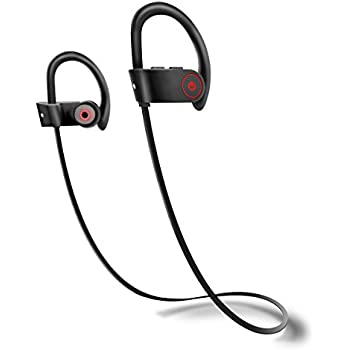 Bluetooth Headphones Wireless Earphones In Ear Sports Earbuds with Built in Mic Stereo Sweatproof Noise Cancelling Headsets for Gym ( 8 Hours Play Time Sweatproof with IPX5 CVC 6.0 Max Compatibility)