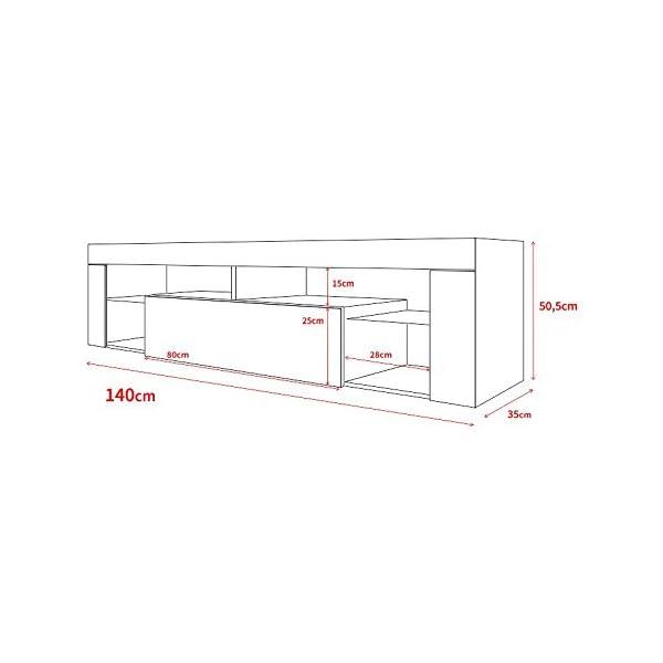 Hestia – Meuble TV (140 cm, Blanc Mat / Fronts Blanc Brillant avec l'éclairage LED)