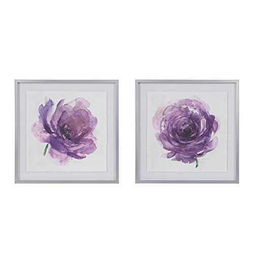 MADISON PARK SIGNATURE Purple Ladies Rose Floral Framed Canvas Wall Art 25X25 2 Piece Multi Panel, Transitional Wall Décor