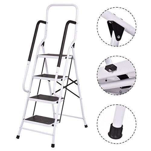 2 In1 Non-slip 4 Steps Ladder Folding Stool w/ Handrails 330Lbs. Load Capacity