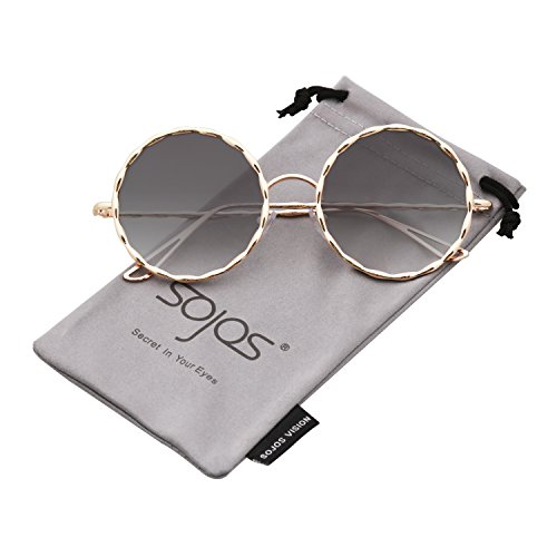 SOJOS Round Sunglasses for Women Glitter Textured Circle Metal Frame SJ1090 with Gold Frame/Gradient Grey Lens