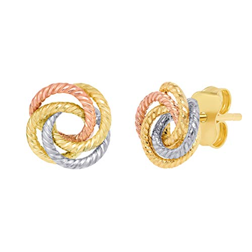 Tri Color Rope - 14K Tri-Color Gold Twisted Love Knot Stud Rope Earrings, 9mm