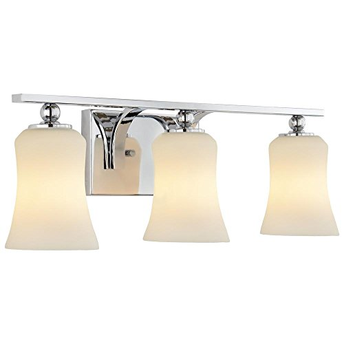 Madison Avenue Lighting & Fan Company 3-Light Chrome Square Bath Vanity Light with Etched White Glass