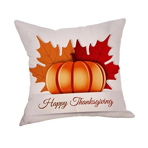Pillowcase, Hunzed Thanksgiving Embroidered Throw Pillow Cover Case Sofa Car Home Waist Thankful Sentiment Throw Cushion Cover (C) Sentiment Car