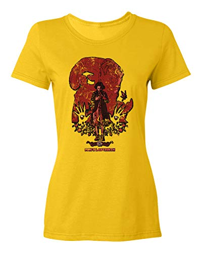 RIVEBELLA Pans Labyrinth Novelty Tee Ladies Crewneck T-Shirt (Gold, Large)