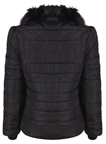 New Parka En Manteau Flirty Wardrobe Noir Col Pour Taille Femme Fourrure Matelassé Doudoune Capuche D'hiver ZOfqwBg