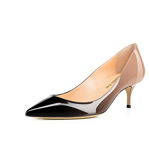 Caitlin Verni Fête Femmes Travail Noir Cuir Chaussures Pointu Rouge Chaton de Talon et Nu Robe 65MM Semelle Bout Escarpins Pan rBwFO7qrv