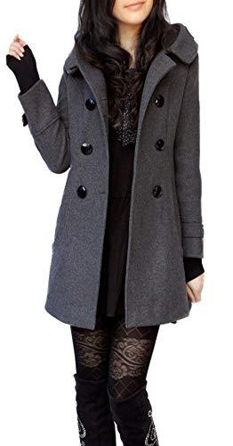 ClairSue Womens Ladies Hooded Trench Coat Outwear Warm Cotton Peacoat Jacket Overcoat Coat Grey