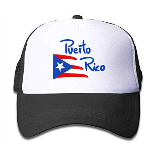 Youth Toddler Baseball Hat,Puerto Rico Flag Mesh Hat Sports Snapback Hats Black