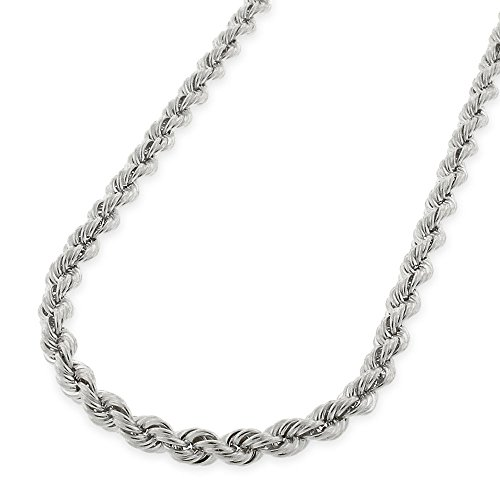Twisted Rope 14k Gold (14K White Gold 3mm Solid Rope Diamond-Cut Link - Heavy-Duty - Twisted Chain Necklace 18