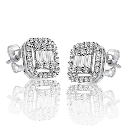 Halo Jewels 10K White Gold, 0.54 Carat Natural White Diamond Earring for Women