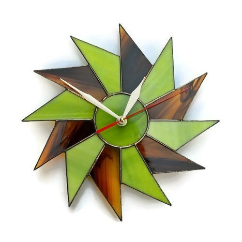 ZangerGlass Starburst Wall Clock Lime Green Brown