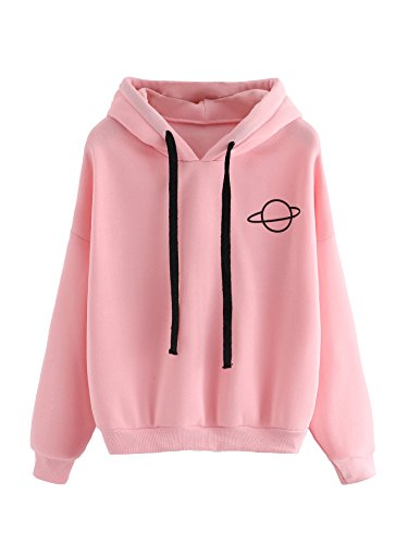MAKEMECHIC Women's Long Sleeve Graphic Print Casual Pullover Crop Sweatshirt Pink-Hoodie S