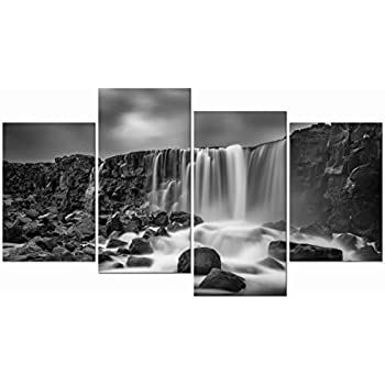 Pyradecor 4 panels black and white rocky waterfall pictures paintings on canvas wall art prints for