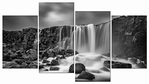 Pyradecor 4 panels Black and White Rocky Waterfall Pictures Paintings on Canvas Wall Art Prints for Wall Decor Living Room Modern Grace Landscape Sea Beach Giclee Canvas Print Artwork Home Decorations