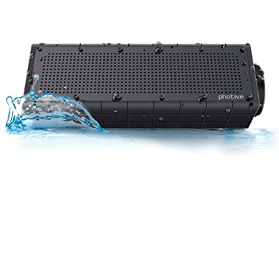 Photive Hydra Wireless Bluetooth Speaker. Waterproof Rugged Portable with built in Subwoofer and Long Battery from Photive