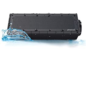 Photive Hydra Wireless Bluetooth Speaker. Waterproof Rugged Portable with built in Subwoofer and Long Battery