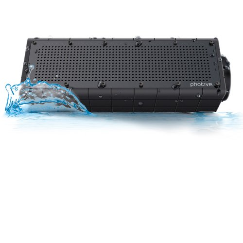 """Photive Hydra Portable Bluetooth Speaker with Enhanced Bass. Waterproof Rugged Portable Speaker for Home, Travel and Outdoors"""
