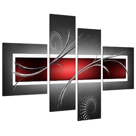 Wallfillers Cuadros En Lienzo Grande Abstracto Rojo Negro Y Gris